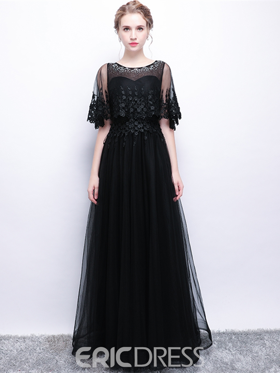 Ericdress A Line Beaded Scoop Neck Black Prom Dress With Cape