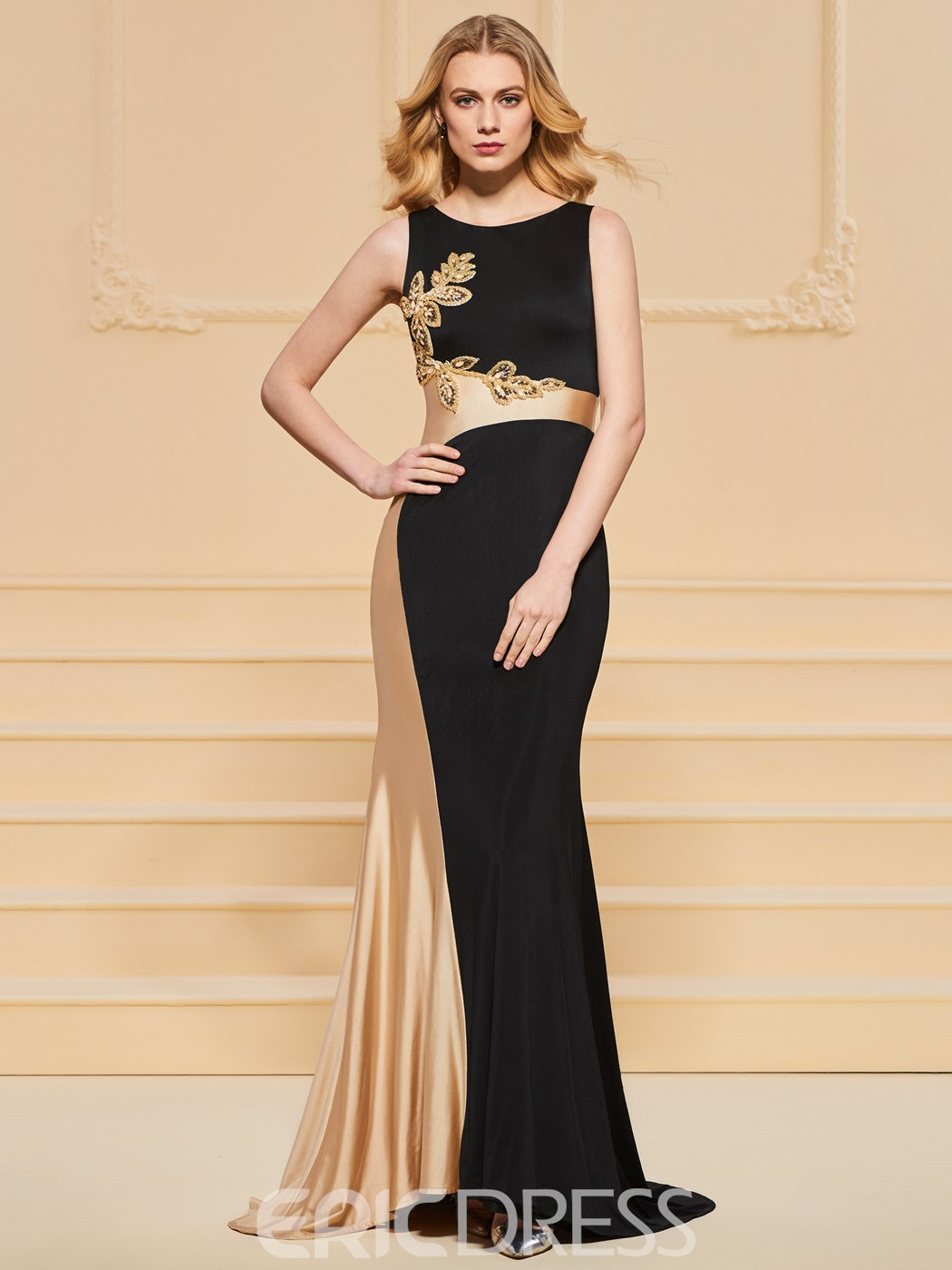 Ericdress Sheath Scoop Neck Contrast Color Evening Dress With Beadings