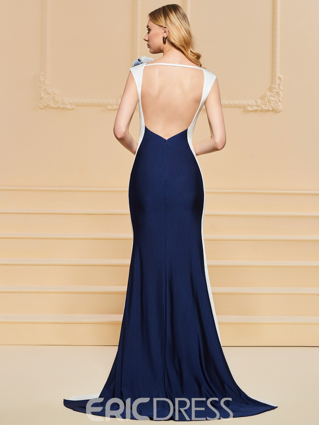 Ericdress Cap Sleeve Contrast Color Backless Mermaid Evening Dress