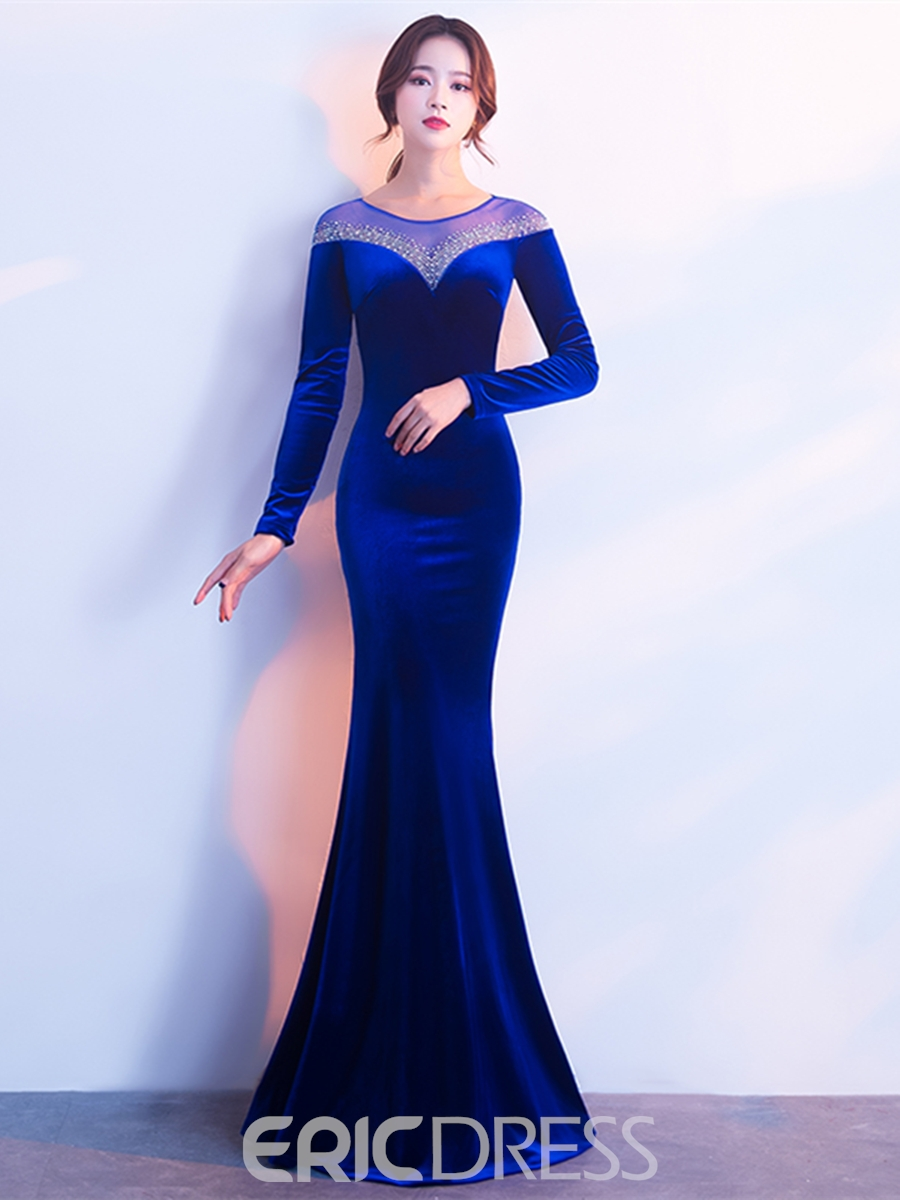 Ericdress Long Sleeve Mermaid Prom Dress With Beadings 13220961 ...