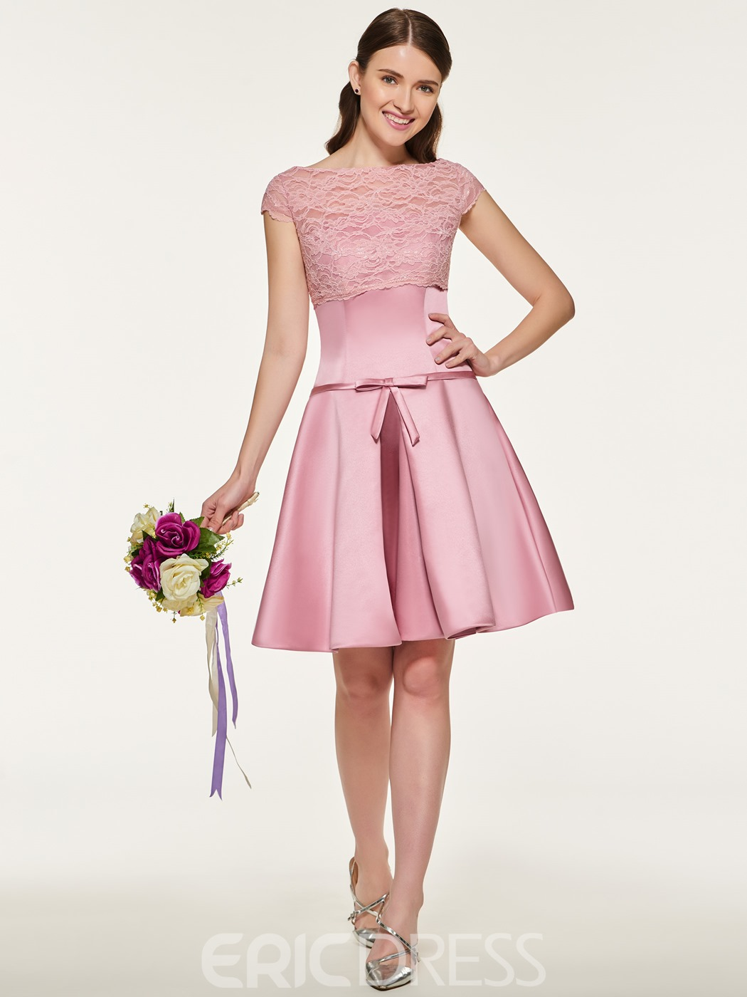 Ericdress Bateau Neck Lace A Line Bridesmaid Dress