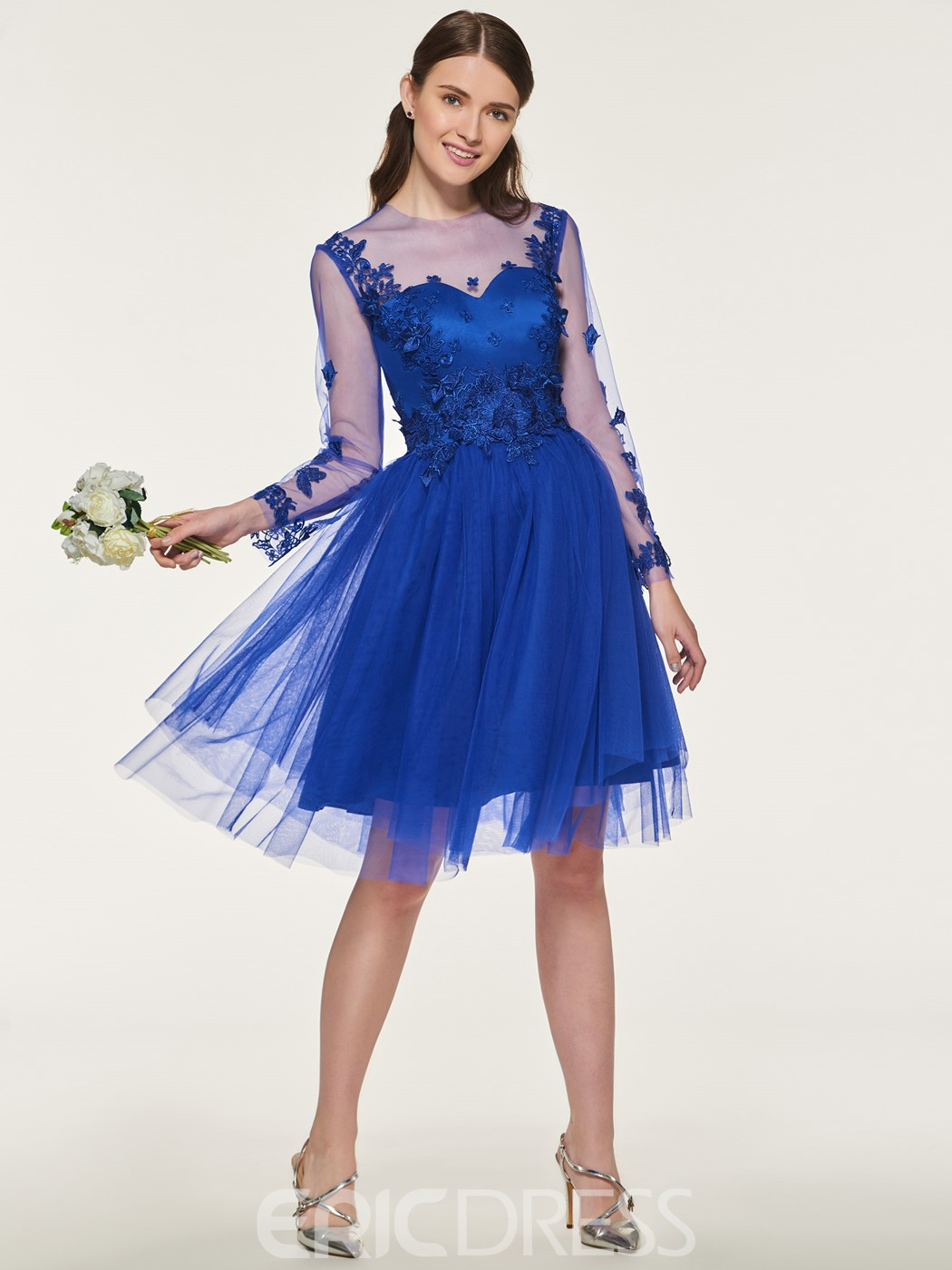 Ericdress A Line Tulle Long Sleeves Bridesmaid Dress