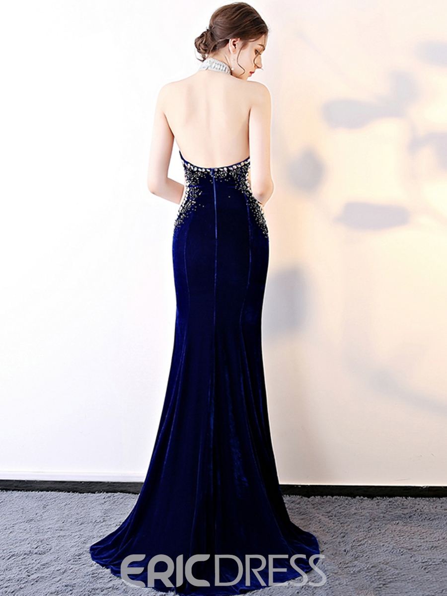 Ericdress Halter Velvet Backless Prom Dress With Beadings