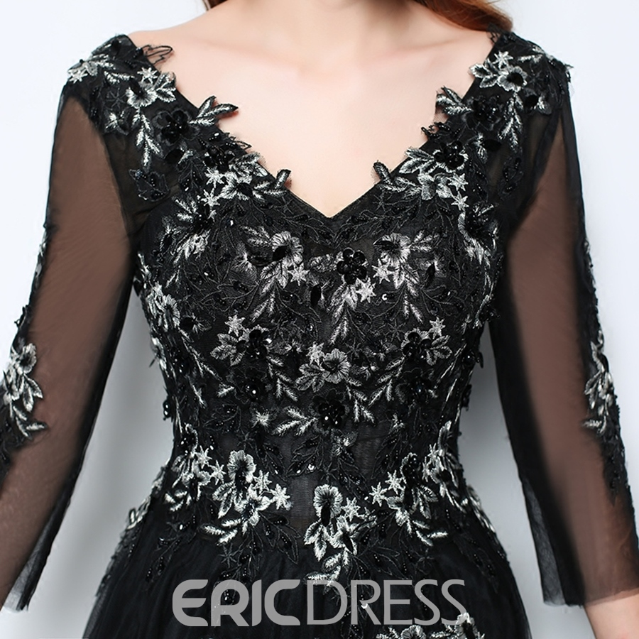 Ericdress A Line V Neck 3/4 Sleeve Applique Black Evening Dress