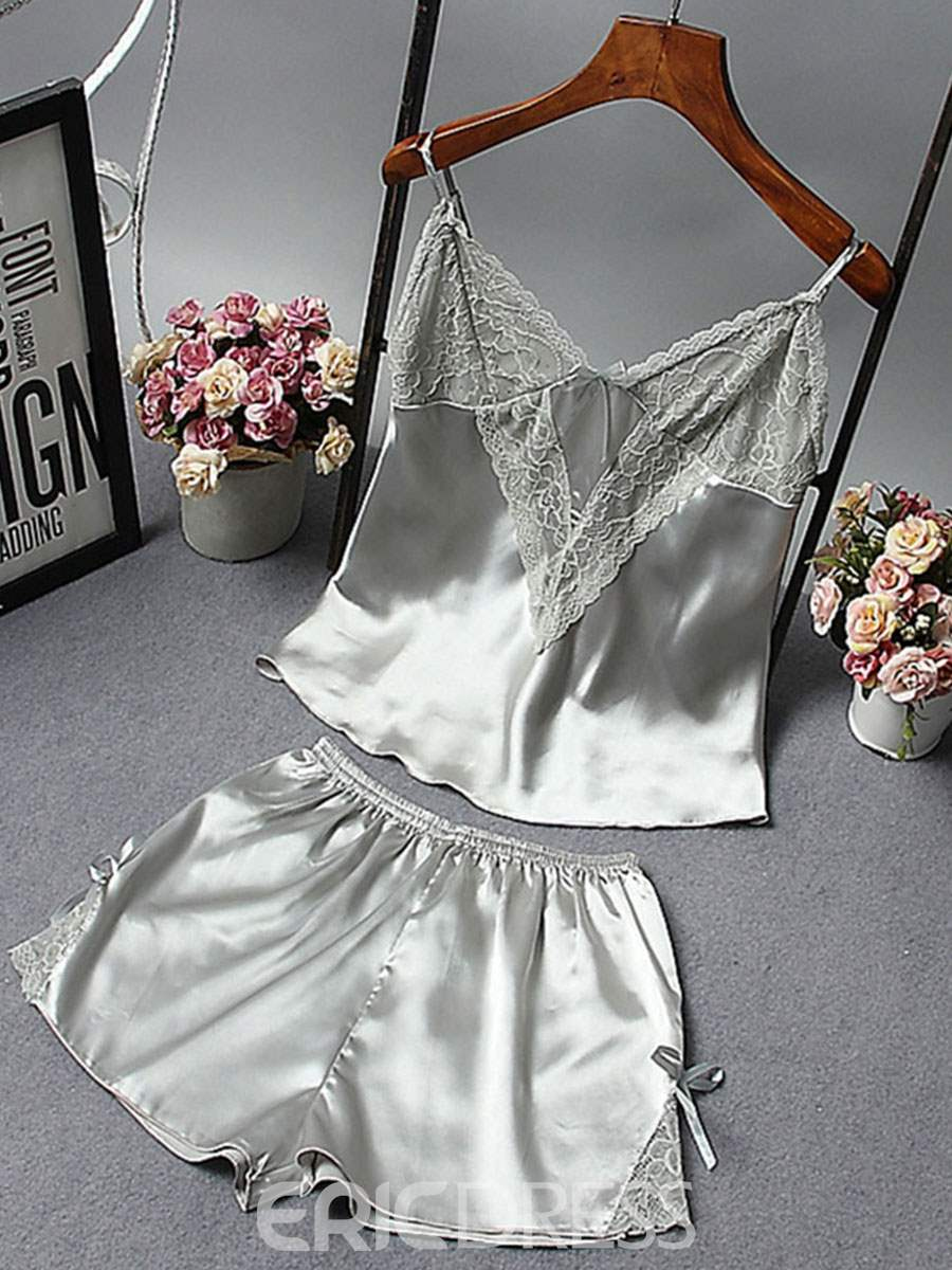 Ericdress Summer Bowknot Sleeveless Shorts Pajamas Suit