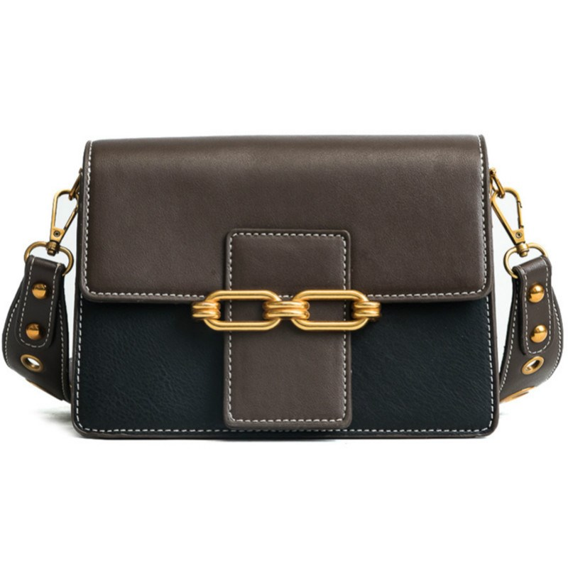 Ericdress Color Block Latch Decoration PU Crossbody Bag