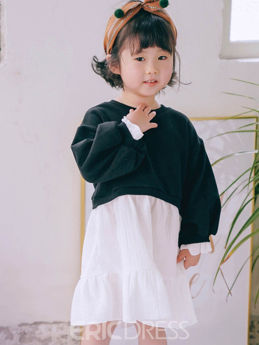 Ericdress Scoop Double-Layered Baby Girl's Long Sleeve Dress
