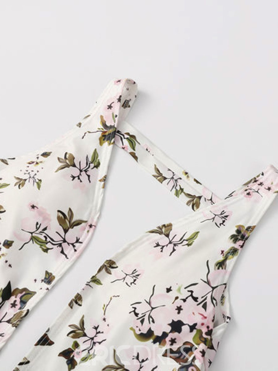 Ericdress Floral Deep V Backless One Piece Swimwear Monokini