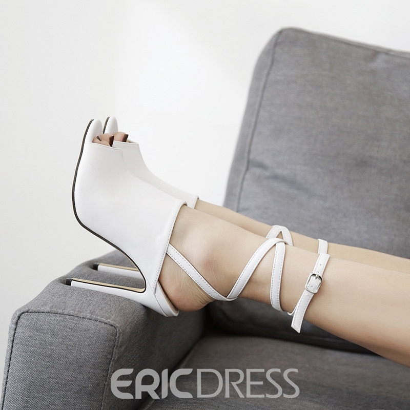 Ericdress Peep Toe Plain Ankle Strap Stiletto Sandals