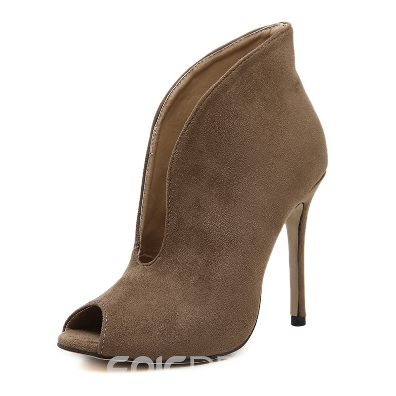 Ericdress Peep Toe Stiletto Heel Slip-On Women's Ankle Boots