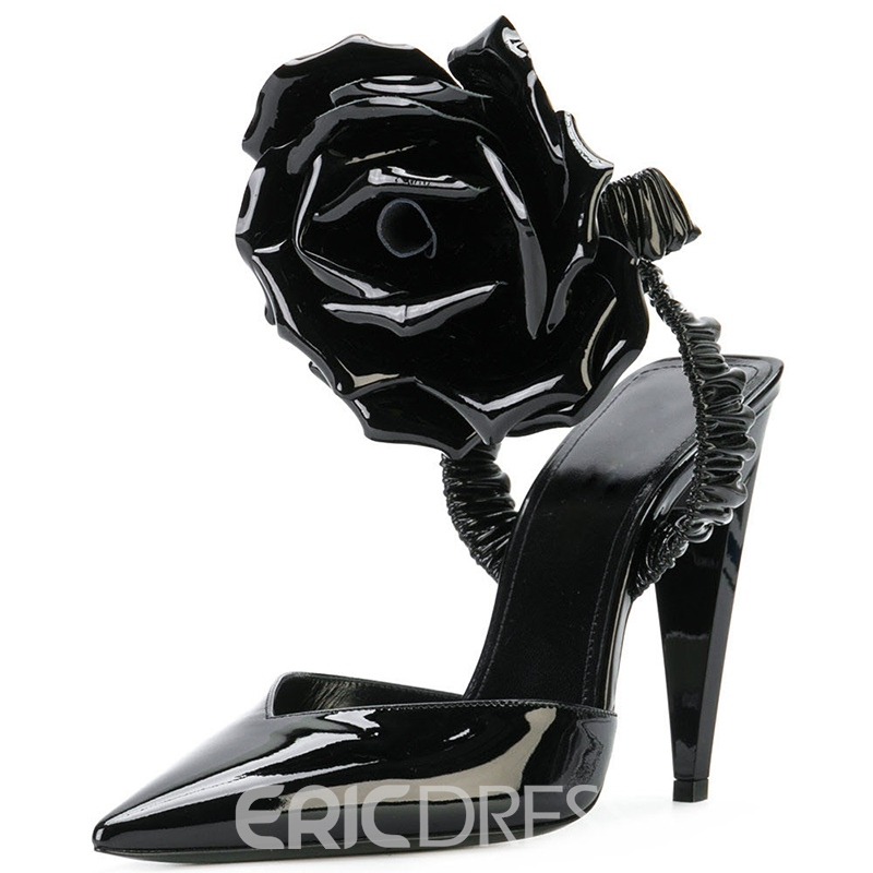 Ericdress Floral Closed Toe Slip-On Stiletto Sandals