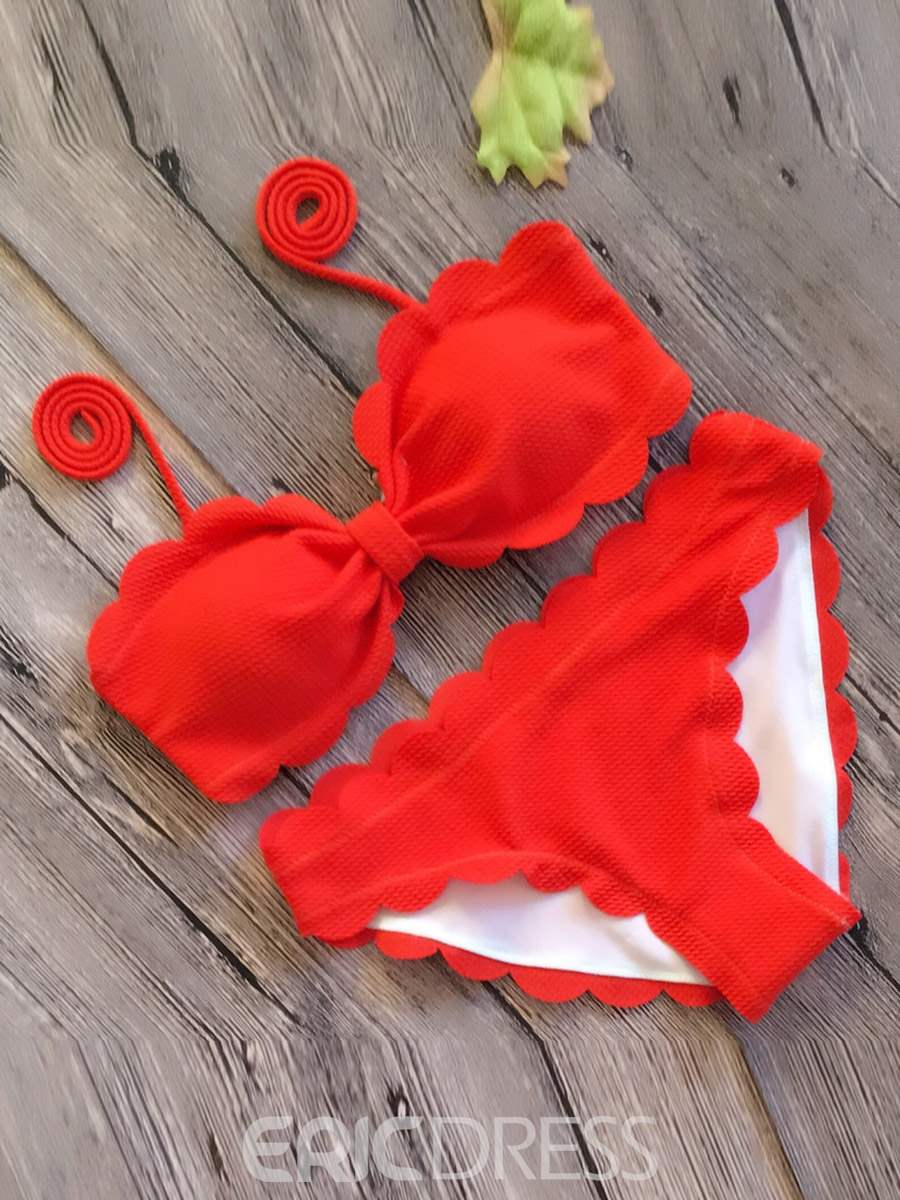 Ericdress Plain Pleated Wave Cut Bowknot 2-Pcs Bikini Suits