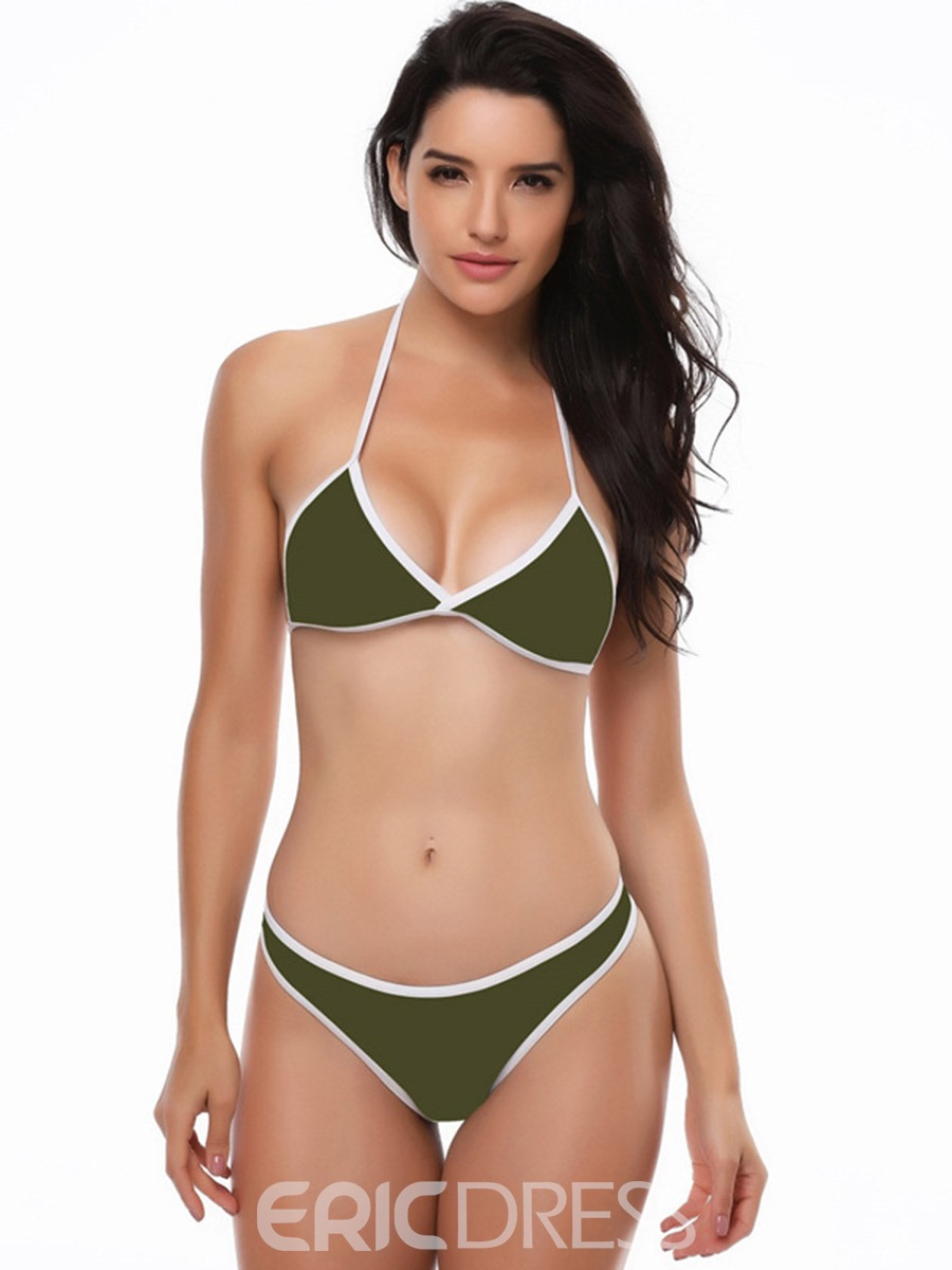 Ericdress High Leg Plain Halter Sexy 2-Pcs Bikini Suits