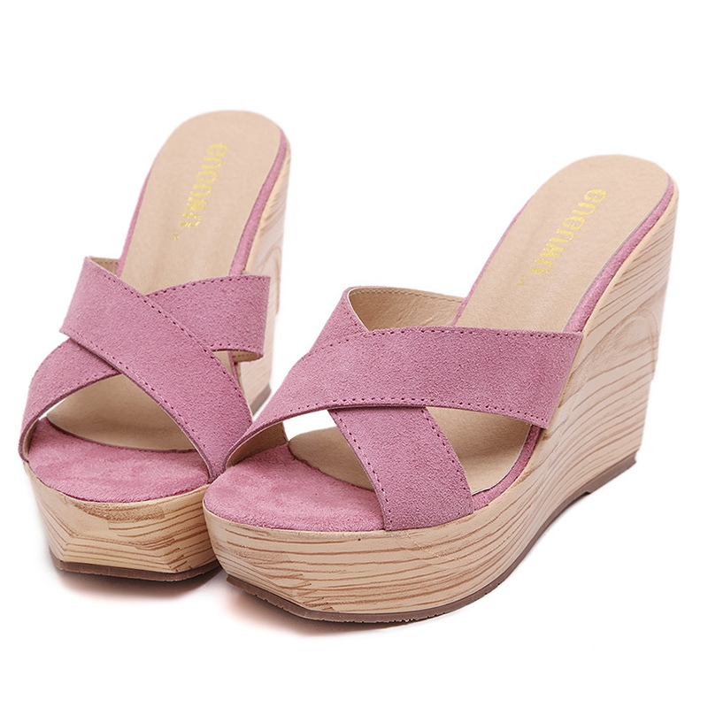 Ericdress Cross Slip-On Platform Wedge Heel Mules Shoes