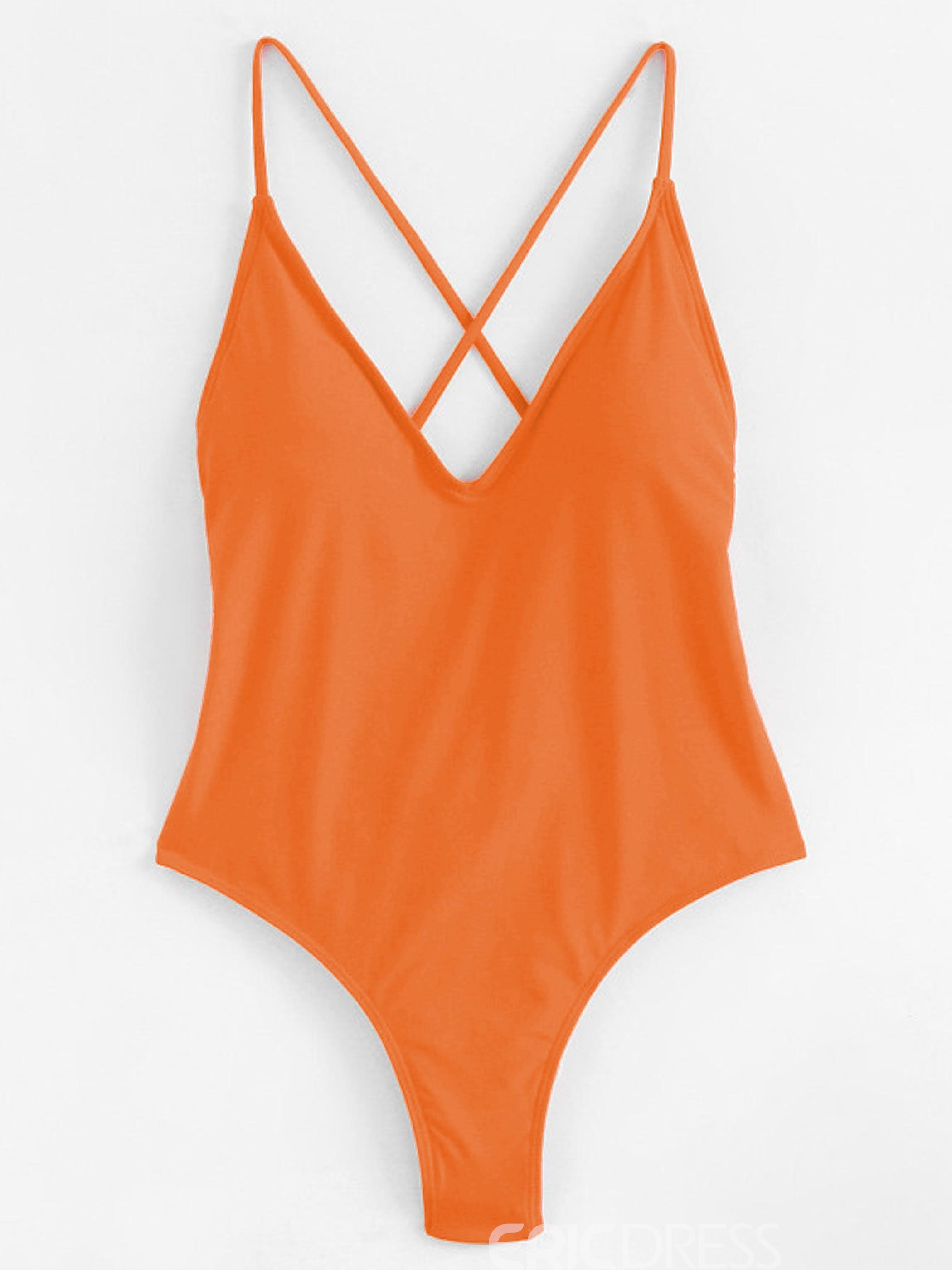Ericdress Sexy Solid Color Backless Monokini