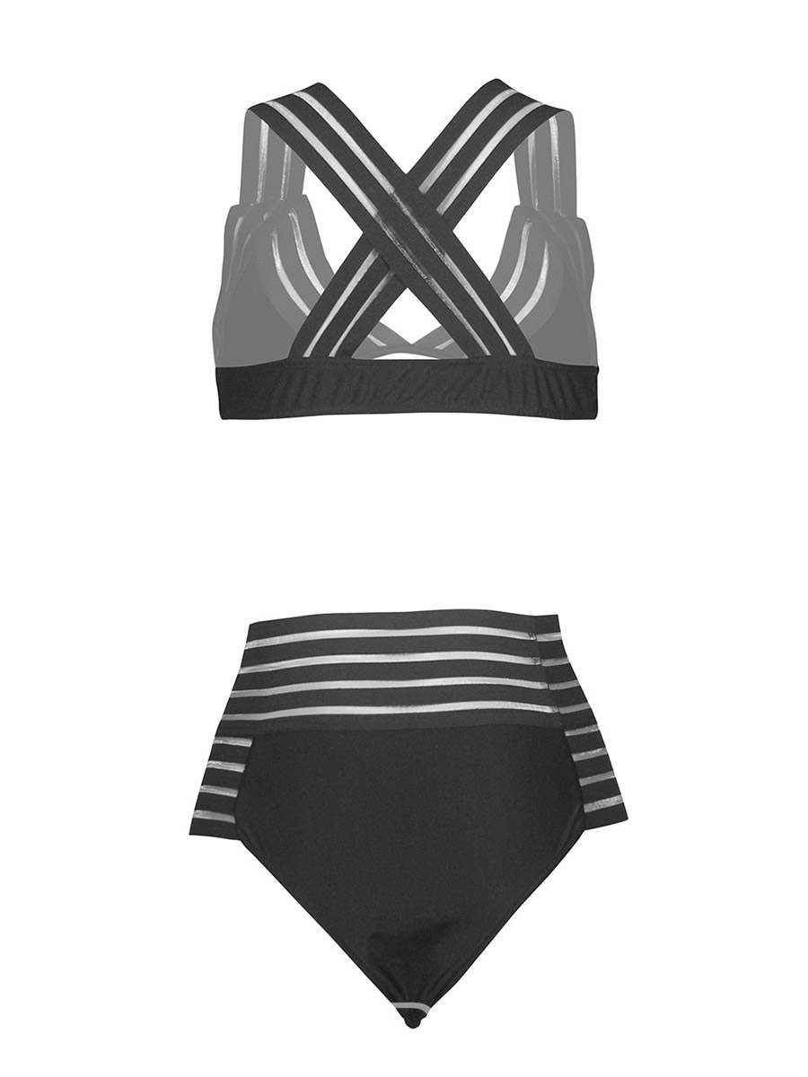 Ericdress Plain High Waist Bikini Swimsuits