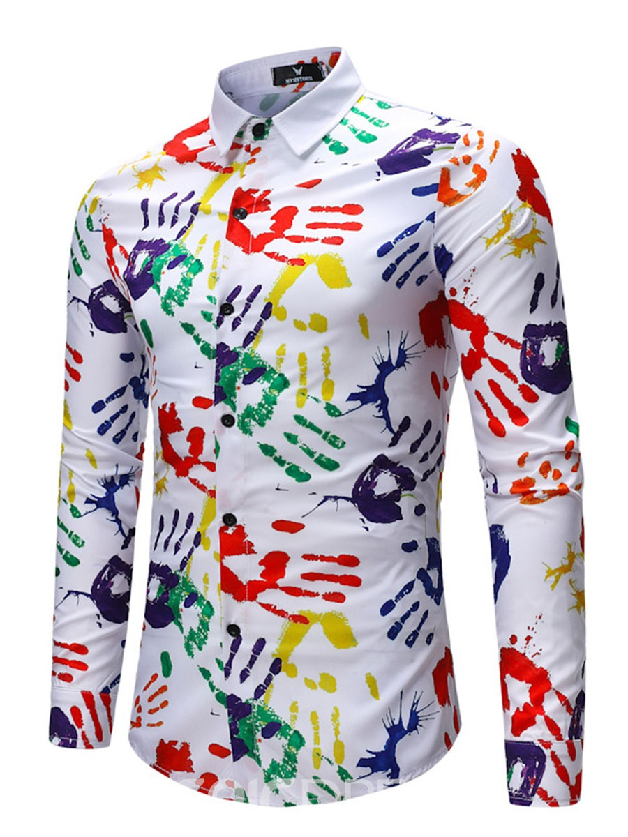 Ericdress Color Block Print Mens Long Sleeve Lapel Shirt