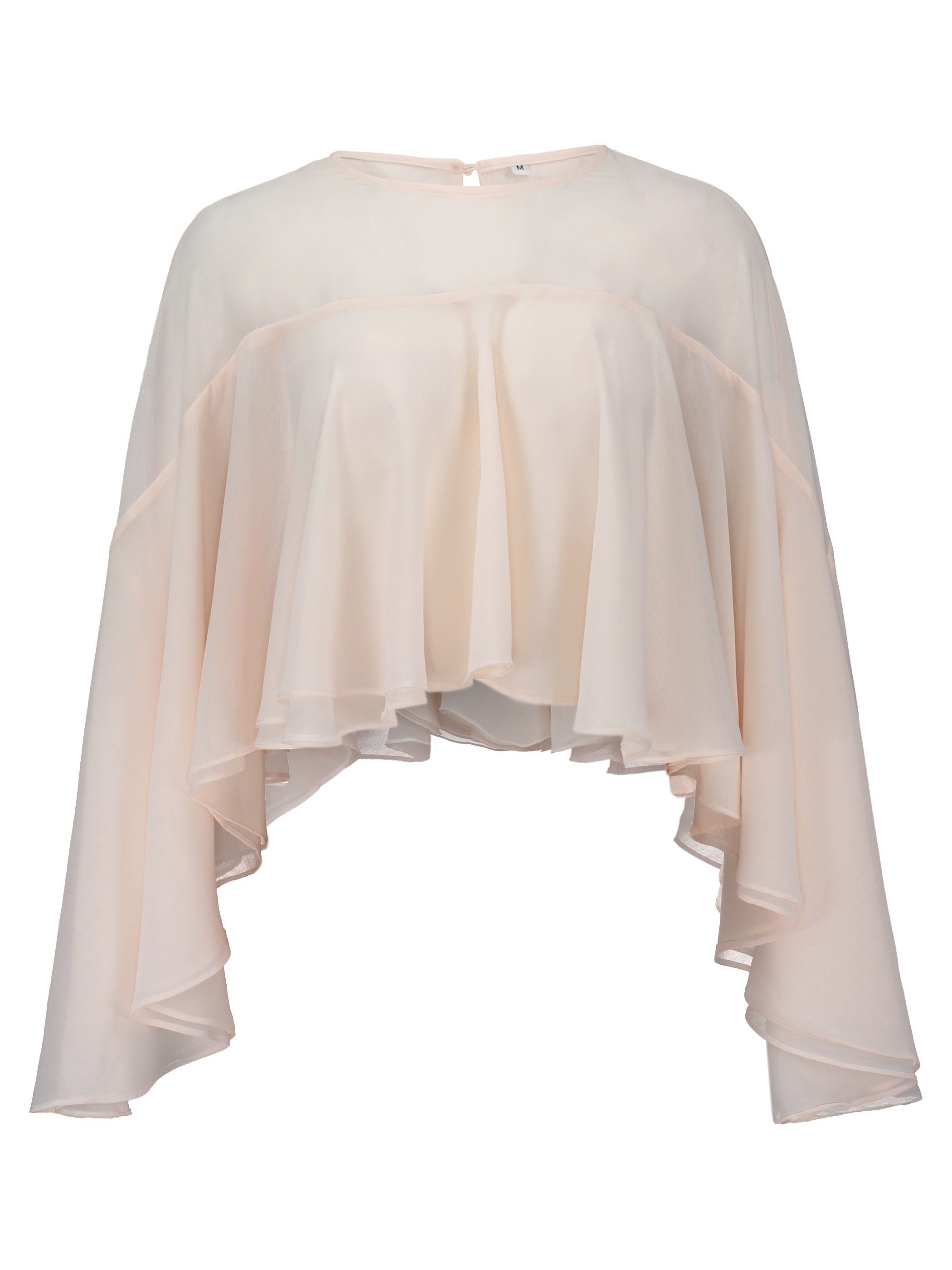 Ericdress Solid Color Ruffled See-Through Blouse