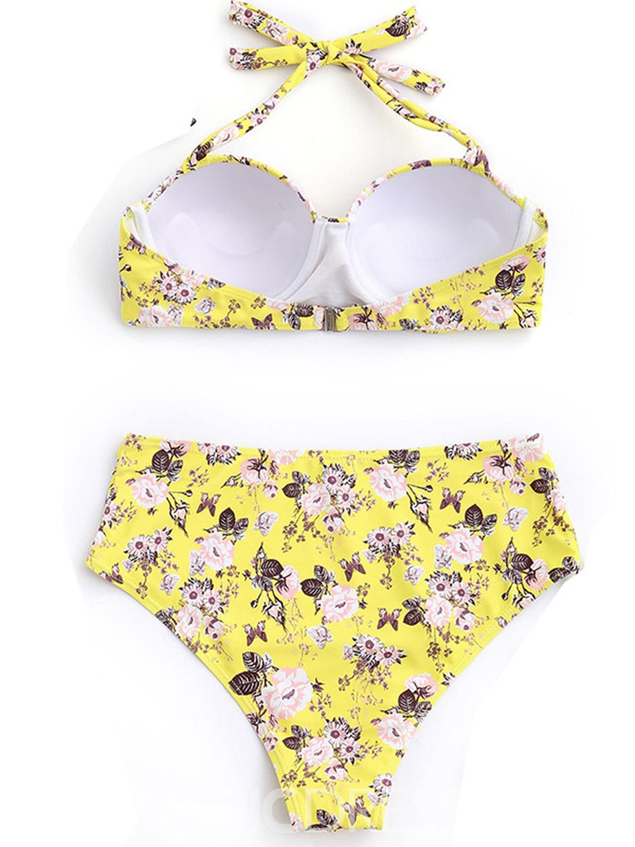Ericdress Halter Floral High Waist Bikini Suits