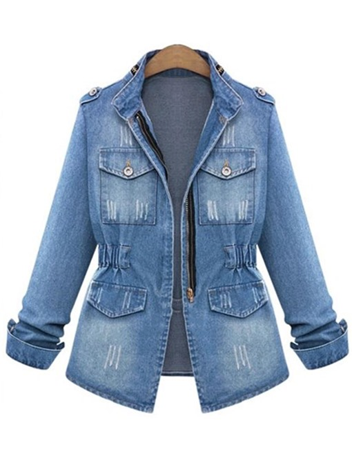 Ericdress Zipper Pocket Long Sleeve Denim Outerwear