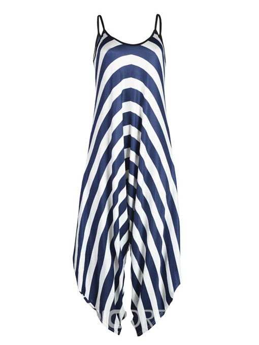 Ericdress Loose Wide Leg Stripe Women's Jumpsuit