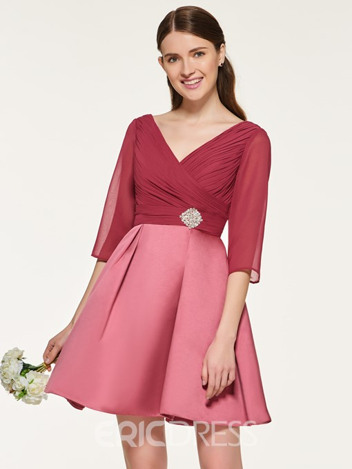 Ericdress A Line Half Sleeves Short Bridesmaid Dress