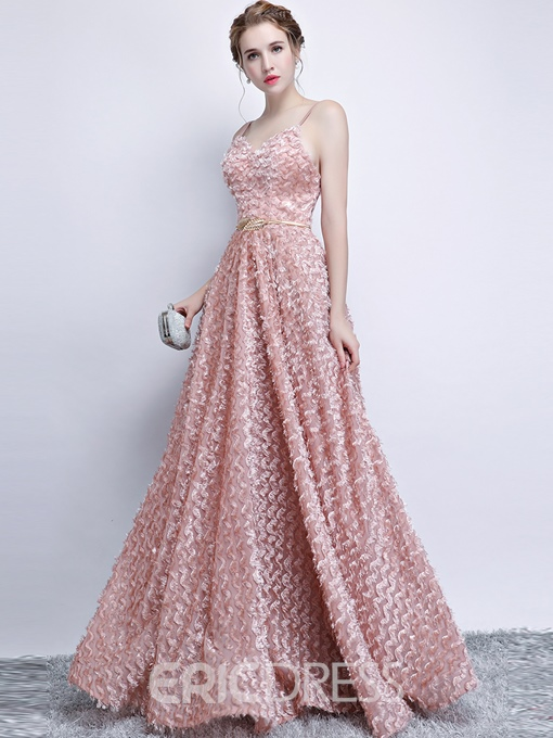 Ericdress A Line Spaghetti Straps Long Lace Prom Dress