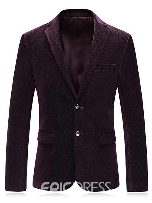 Ericdress Plain Notched Lapel Single Breasted Mens Blazer Jacket