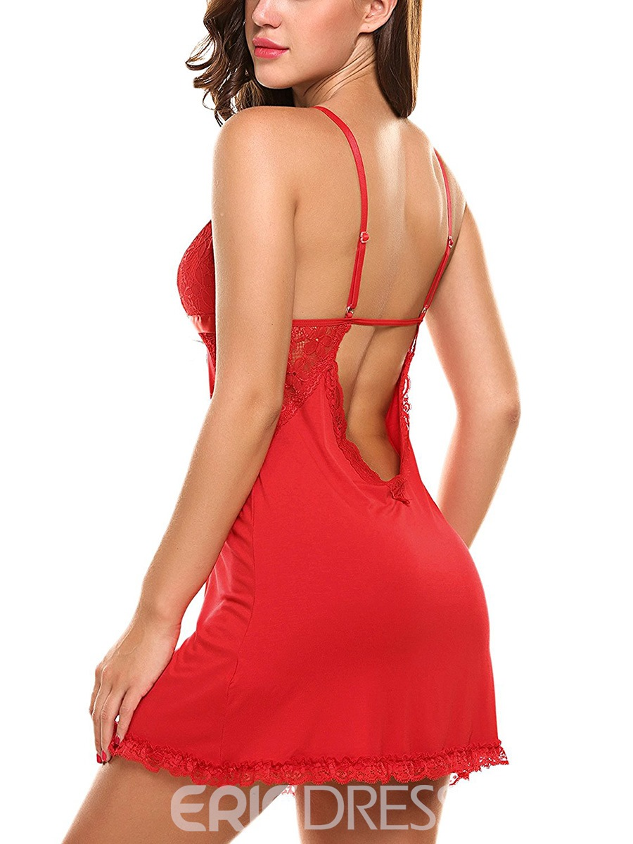 Ericdress Backless Spaghetti Strap Bowknot Nightgown