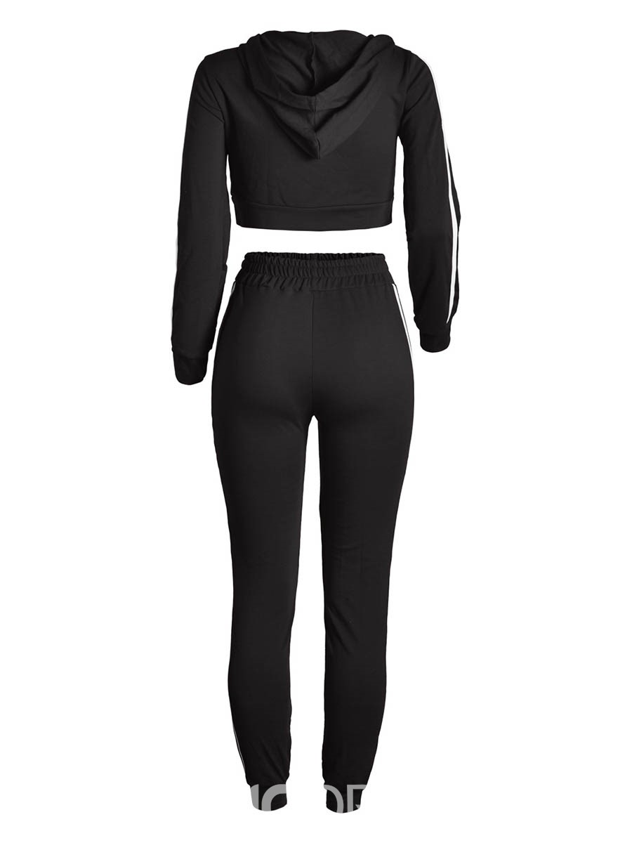 Ericdress Stripe Hoodie and Pants Women's Two Piece Set