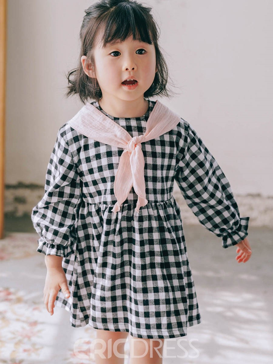 Ericdress Plaid Lantern Sleeve Baby Girl's Casual Dress