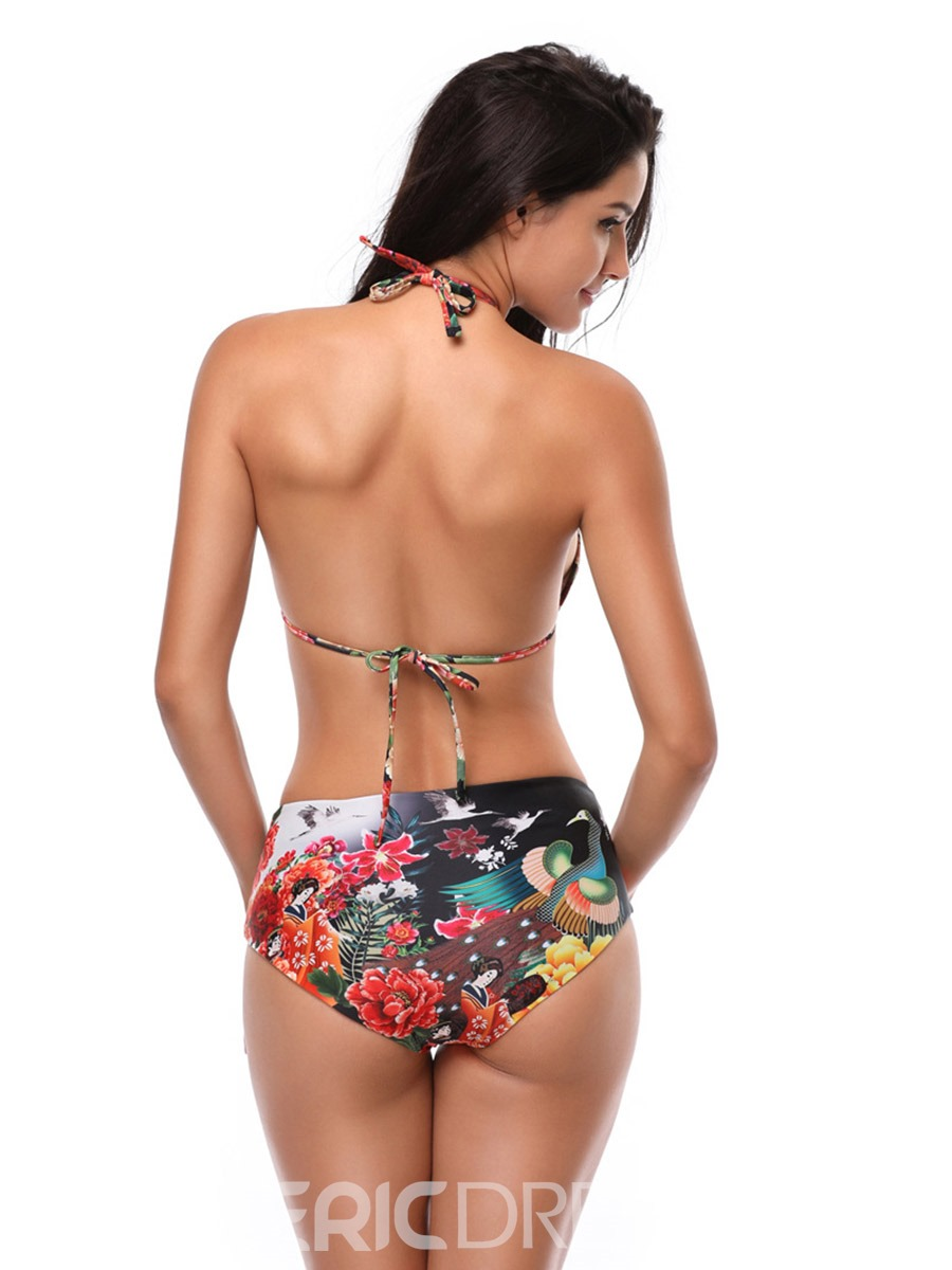 Ericdress Halter Floral Lace-Up 2-Bikini Suits