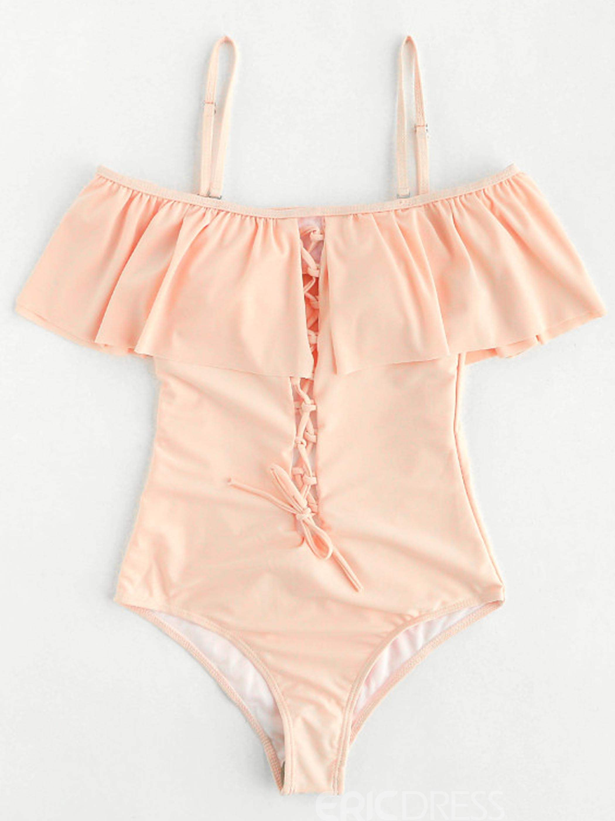 Ericdress Plain Falbala Hollow Monokini