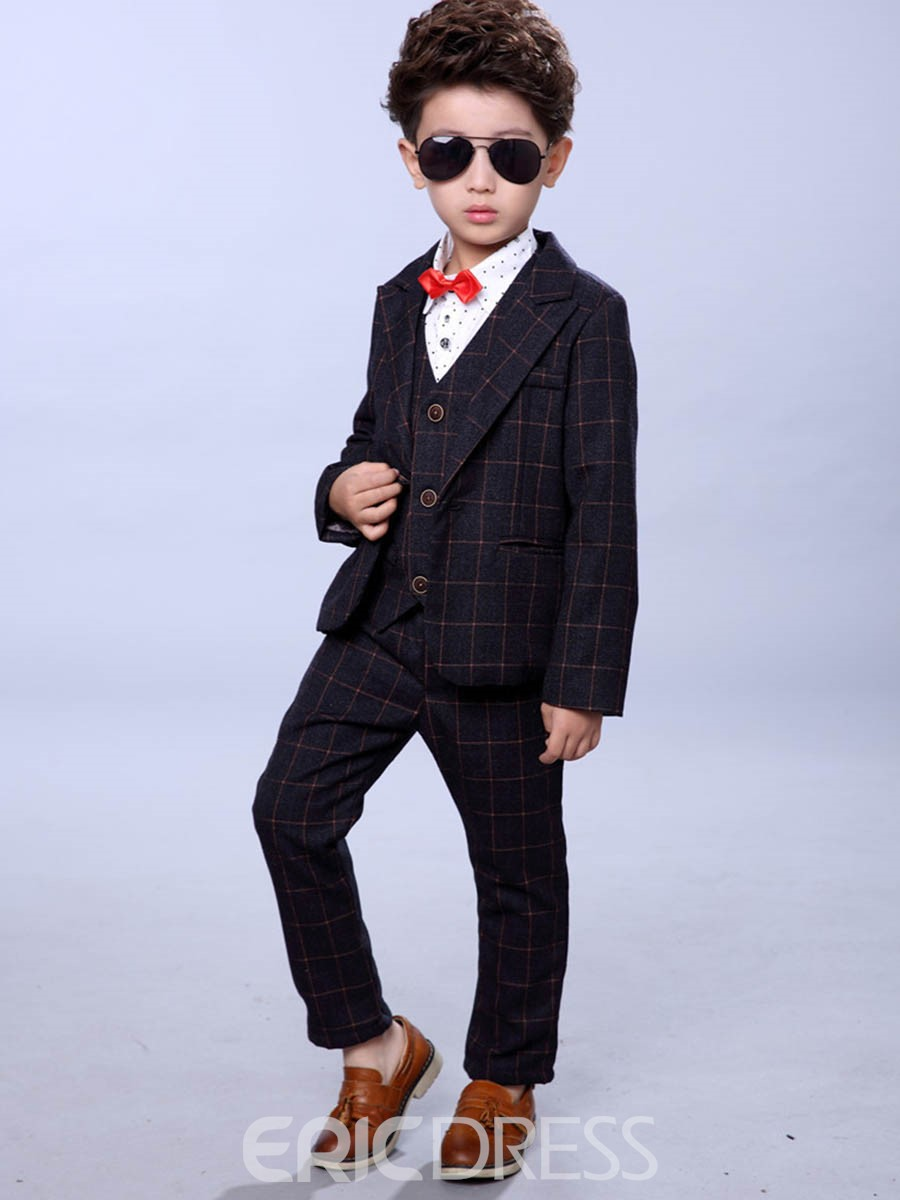 Ericdress Plaid One Button Blazer Vest Pants Boy's Suit