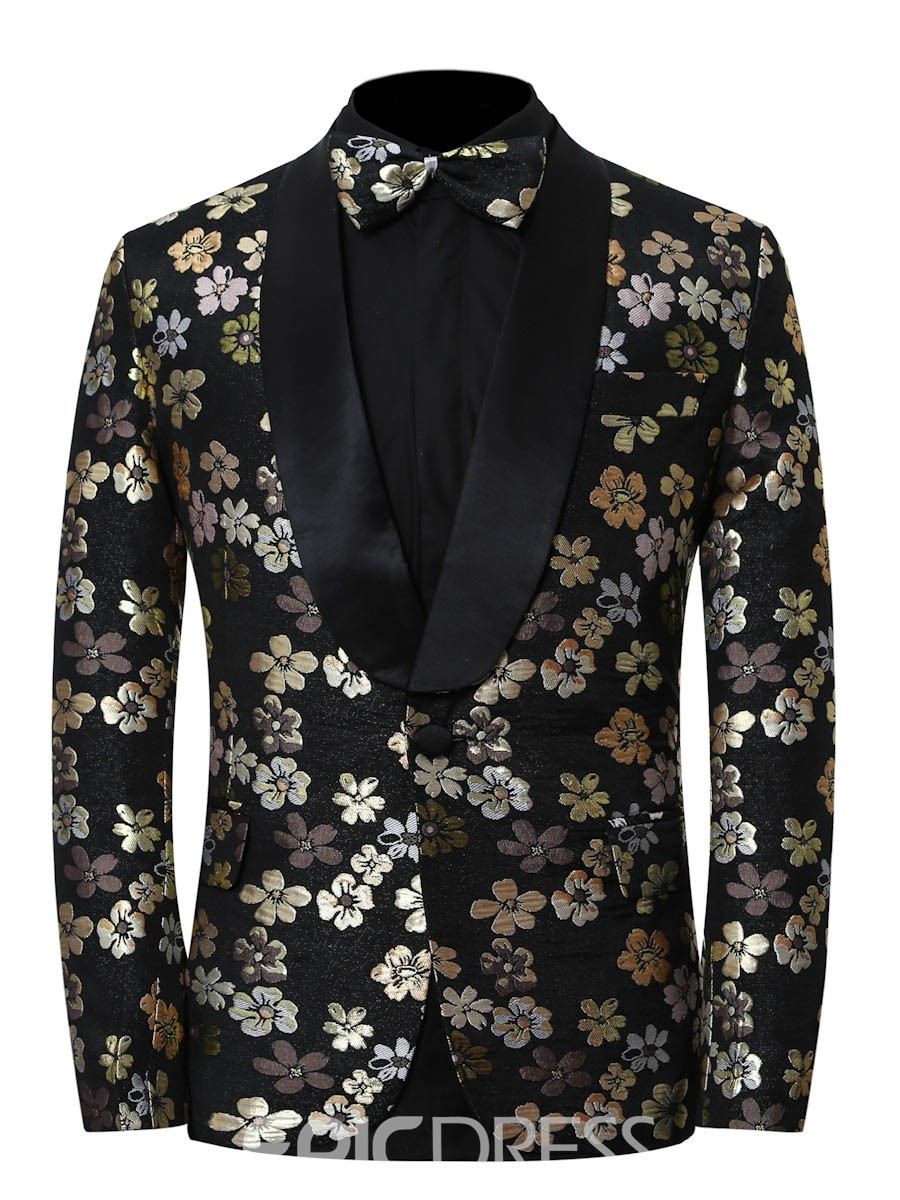 Ericdress Floral Print Slim Notched Lapel Mens Casual Ball Blazer