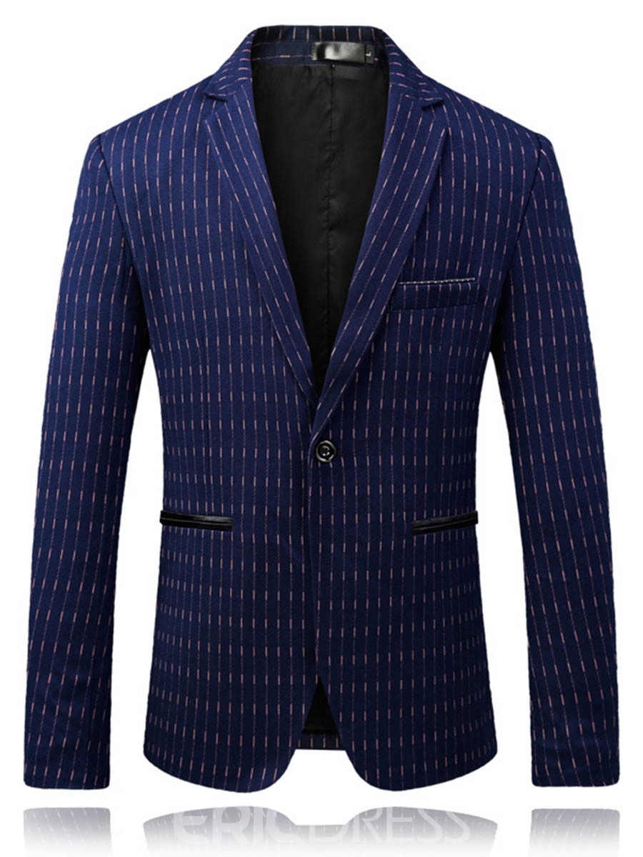 Ericdress Stripe Straight One Button Mens Notched Lapel Blazer Jacket
