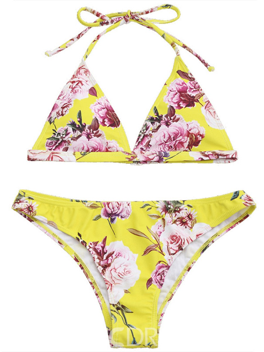 Ericdress Floral Triangl Halter Lace-Up 2-Pcs Bikini Suits