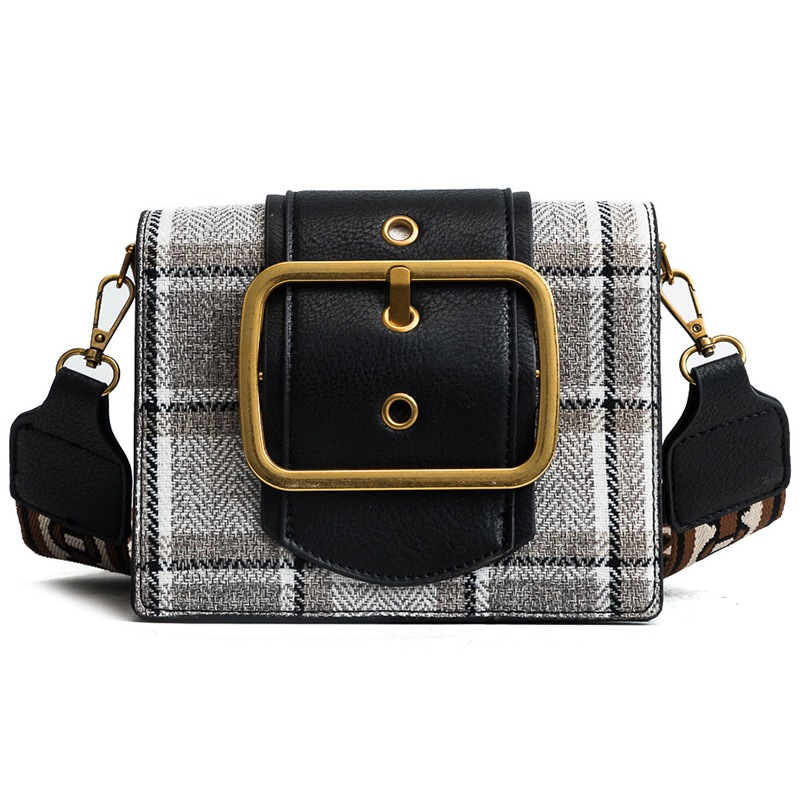 Ericdress Belt Decorated Plaid Crossbody Bag