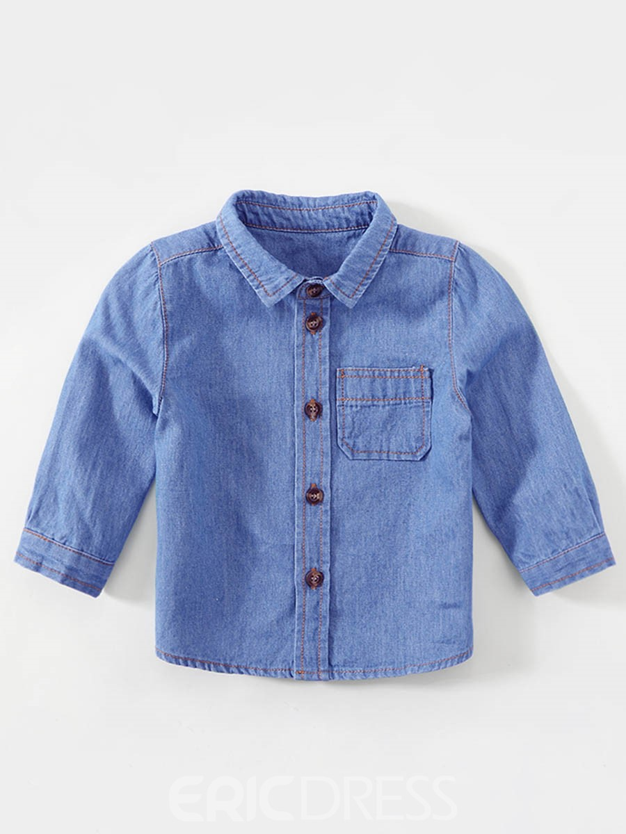 Ericdress Pocket Lapel Baby Boy's Denim Shirt