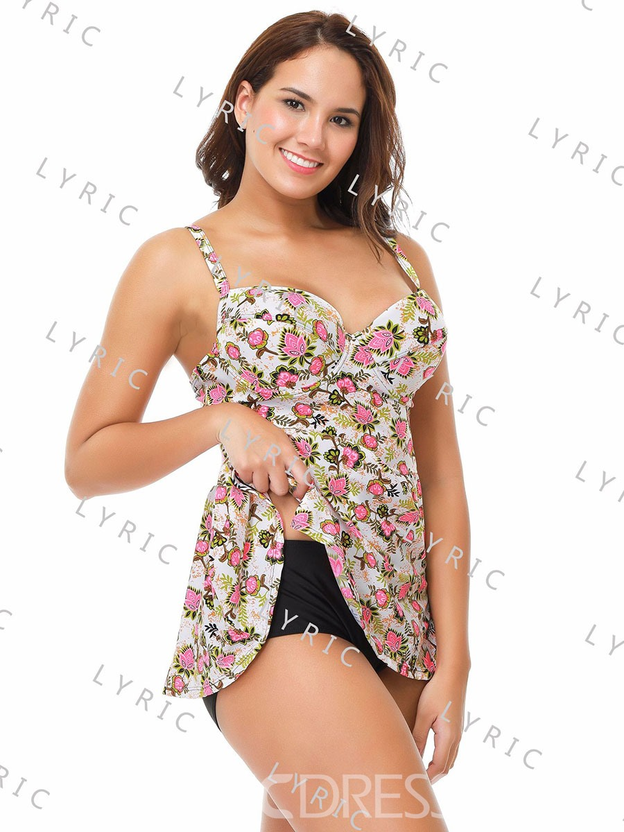 Ericdress Plus Size Floral Pink Tankini Suits