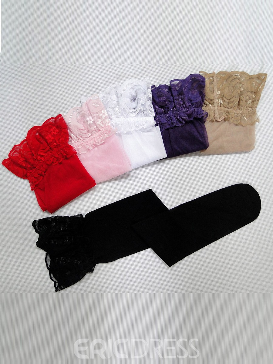 Ericdress Plain Lace Thigh-High Stocking