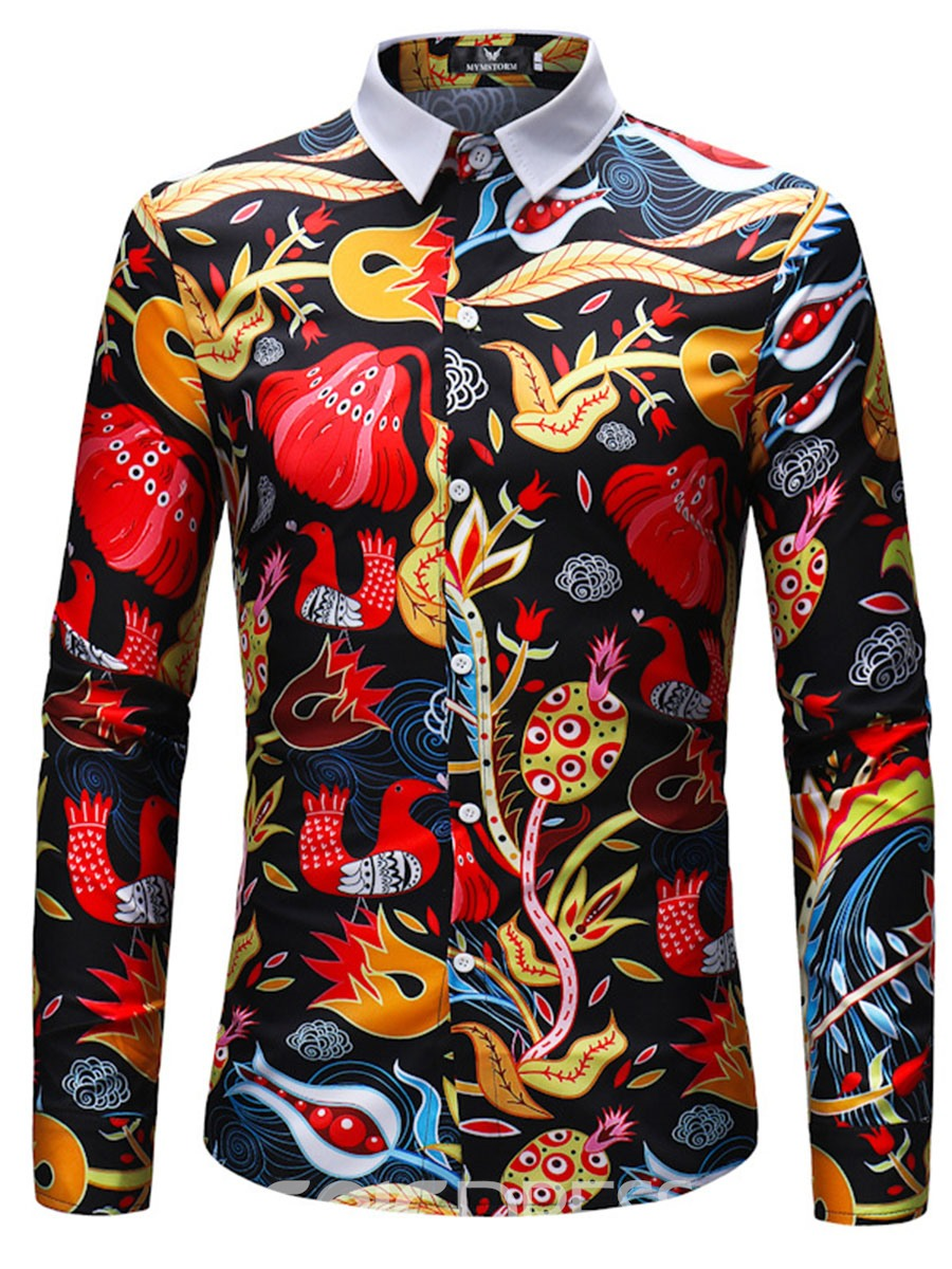 Ericdress Floral Print Mens Lapel Long Sleeve Slim Shirt