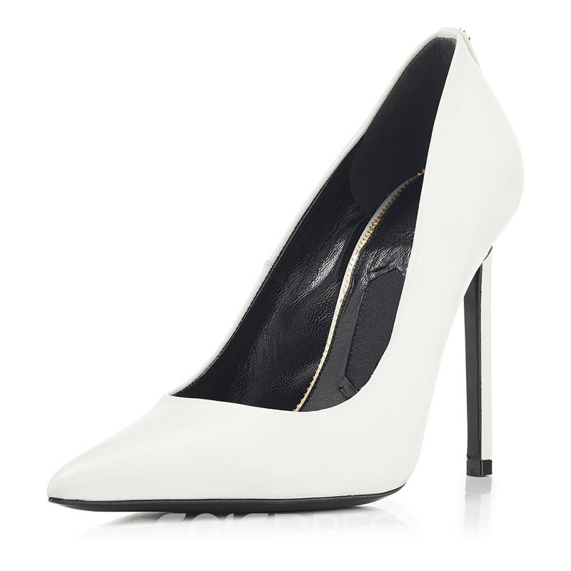 Ericdress White Slip-On Pointed Toe Stiletto Heel Pumps