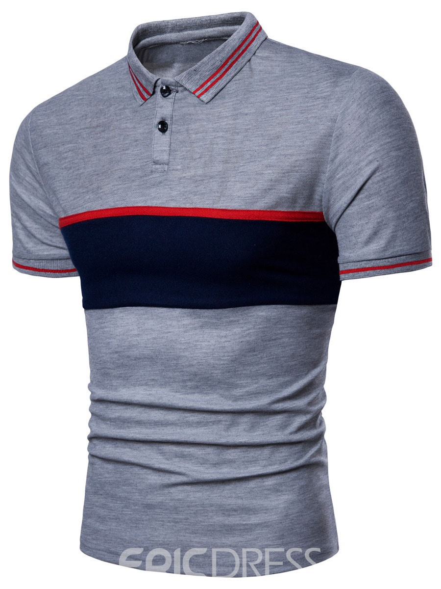 Ericdress Stripe Color Block Mens Short Sleeve Slim T Shirt