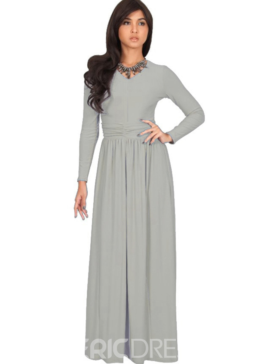Ericdress Plain V-Neck Pleated Patchwork Floor-Length Maxi Dress