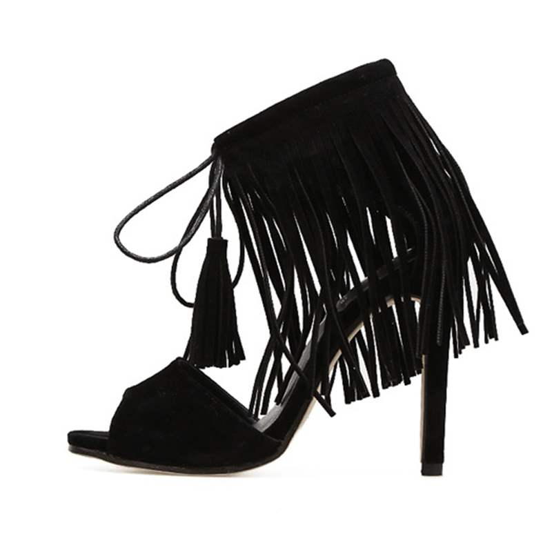 Ericdress Faux Suede Fringe Lace-Up Stiletto Heel Women's Sandals