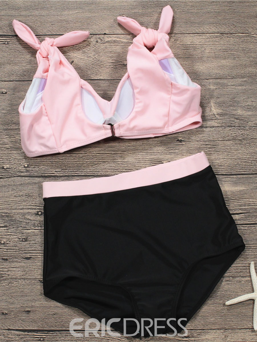 Ericdress Bowknot Tie Shoulder High Waist Bikini Suits