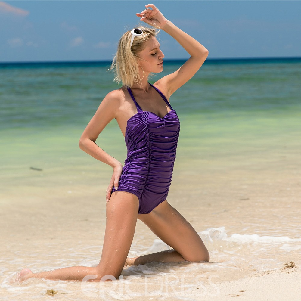 European Pleated Halter Monokini