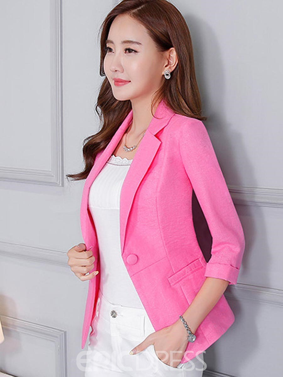 Ericdress Slim Plain One Button OL Blazer