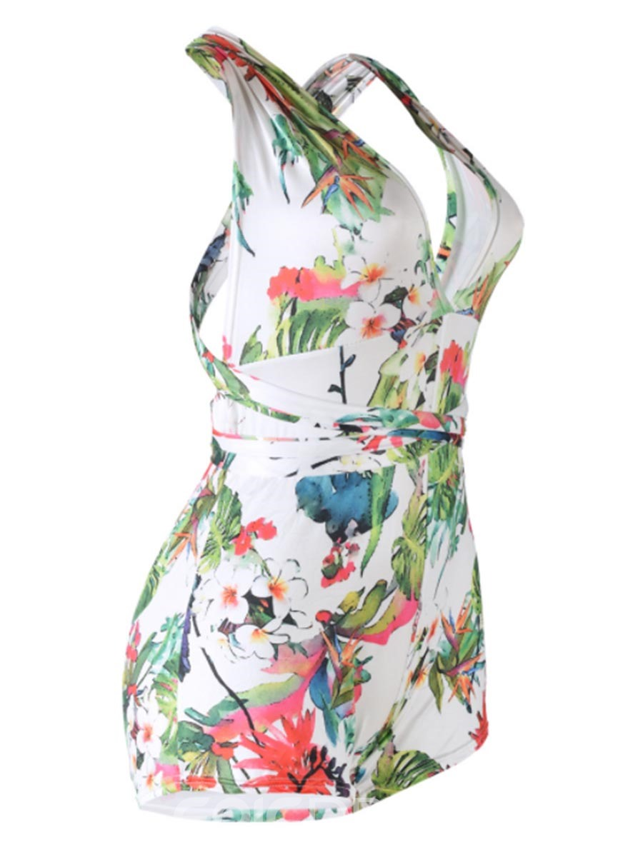 Ericdress Backless Print Women's Rompers